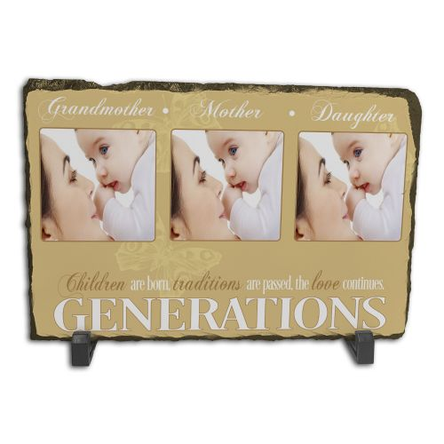 Personalised Generations - Three Images Family Rock Slate Photo Frame - Rectangle Large